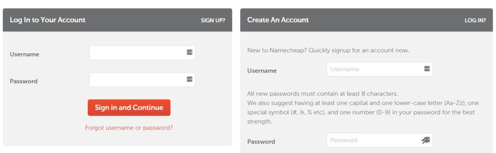 Create An Account Namecheap