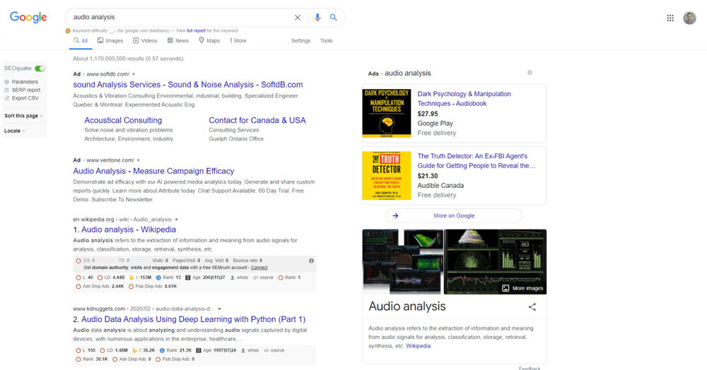 Audio Analysis Search Paid Search Engine Results